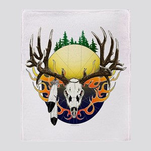 Deer skull with feathers Throw Blanket