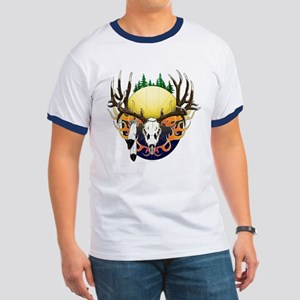 Deer skull with feathers Ringer T