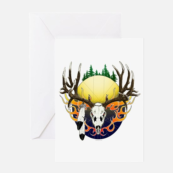 Deer skull with feathers Greeting Card