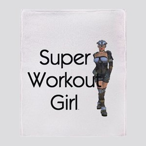 Super Workout Girl Throw Blanket