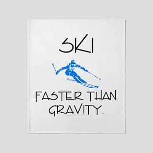 Ski Faster Than Gravity Throw Blanket
