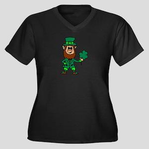 Leprechaun Women's Plus Size V-Neck Dark T-Shirt