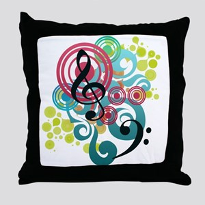 Music Swirl Throw Pillow