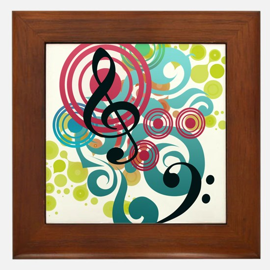 Music Swirl Framed Tile