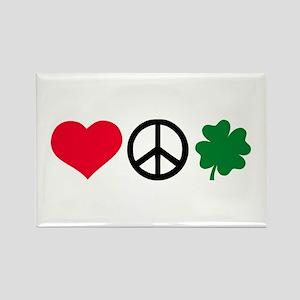 Love, Peace & Shamrock Rectangle Magnet