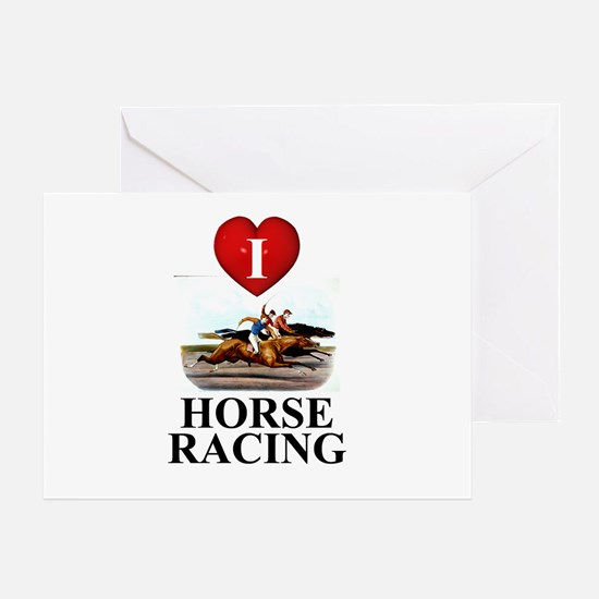 TOP I Love Horse Racing Greeting Card