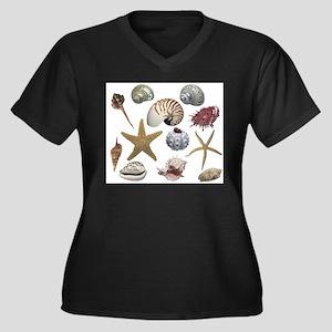 Shells Women's Plus Size V-Neck Dark T-Shirt