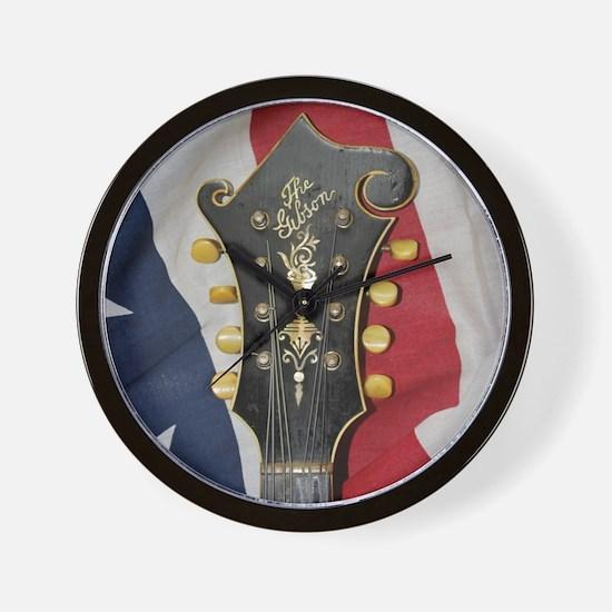 Gibson Mandolin and Flag Wall Clock