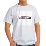 Jewish - Light My Menorah -  Ash Grey T-Shirt