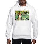 Basenji in Irises Hooded Sweatshirt