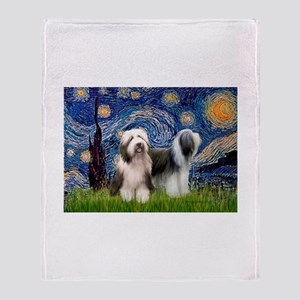 Starry / 2 Bearded Collies Throw Blanket