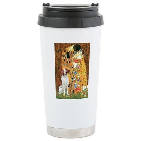 Kiss/Brittany Spaniel Stainless Steel Travel Mug