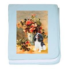Flowers & Tri Cavalier baby blanket