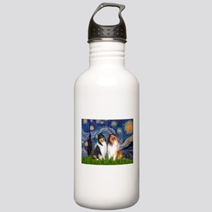 Starry Night / Collie pair Stainless Water Bottle