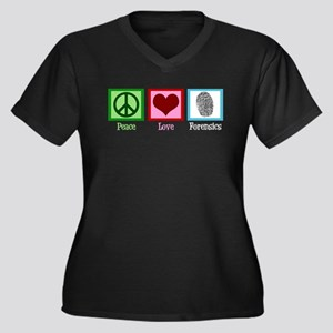 Peace Love Forensics Women's Plus Size V-Neck Dark