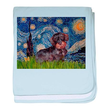 Starry Night Dachshund (Wire) baby blanket