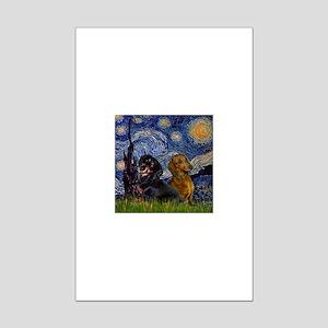 Starry Night Doxie Pair Mini Poster Print
