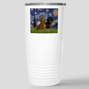 Starry Night Doxie Pair Stainless Steel Travel Mug