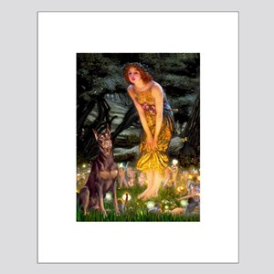 Fairies & Red Doberman Small Poster