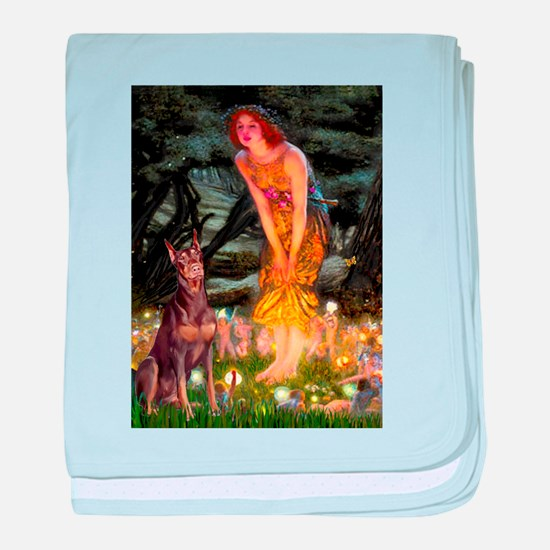 Fairies & Red Doberman baby blanket