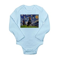 Starry Night Doberman Long Sleeve Infant Bodysuit