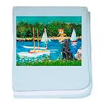 Sailboats / Flat Coated Retri baby blanket