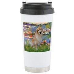 Lilies & Golden Stainless Steel Travel Mug