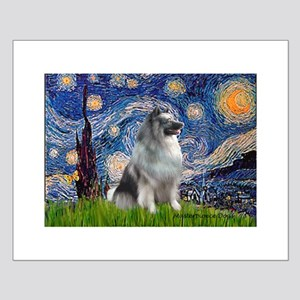 Starry / Keeshond Small Poster