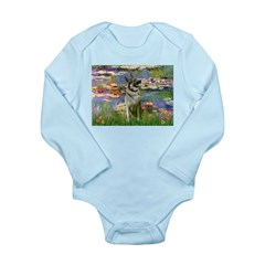 Lilies / Nor Elkhound Long Sleeve Infant Bodysuit