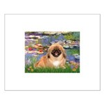 Lilies / Pekingese(r&w) Small Poster