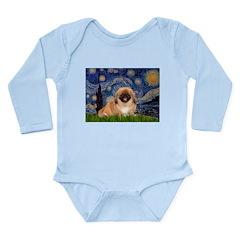 Starry / Pekingese(r&w) Long Sleeve Infant Bodysui