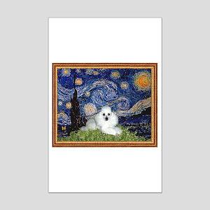 Starry Night / Poodle(w) Mini Poster Print