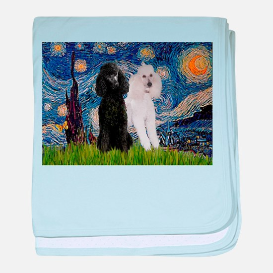 Starry Night / 2 Poodles(b&w) baby blanket