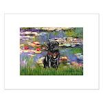 Lilies (#2) & Black Pug Small Poster