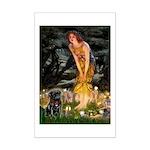 Fairies & Black Pug Mini Poster Print