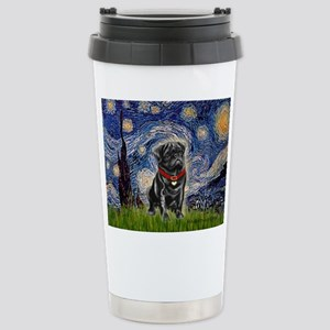Starry Night / Black Pug Stainless Steel Travel Mu