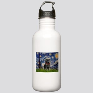 Starry Night / Black Pug Stainless Water Bottle 1.
