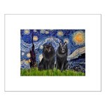 Starry Night & Schipperke Small Poster