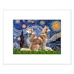 Starry Night Red Husky Pair Small Poster