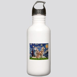 Starry Night Red Husky Pair Stainless Water Bottle