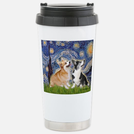 Starry Night / Corgi pair Stainless Steel Travel M