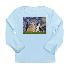 Starry Night / Corgi pair Long Sleeve Infant T-Shi