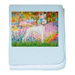 Whippet in Monet's Garden baby blanket