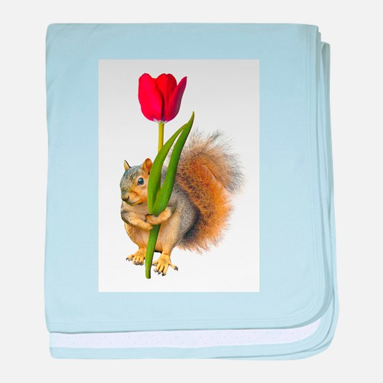 Squirrel Red Tulip baby blanket
