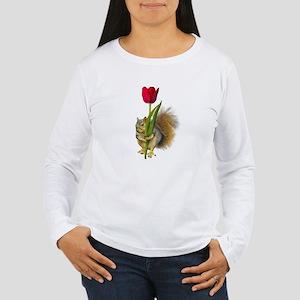 Squirrel Red Tulip Women's Long Sleeve T-Shirt
