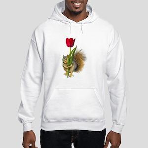 Squirrel Red Tulip Hooded Sweatshirt