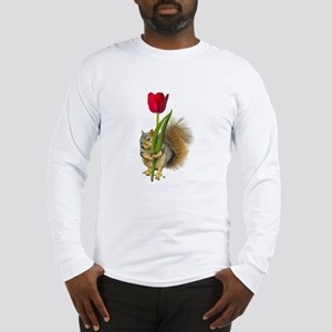 Squirrel Red Tulip Long Sleeve T-Shirt