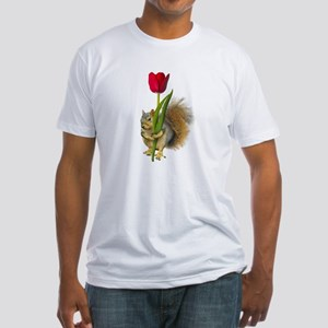 Squirrel Red Tulip Fitted T-Shirt