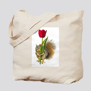 Squirrel Red Tulip Tote Bag