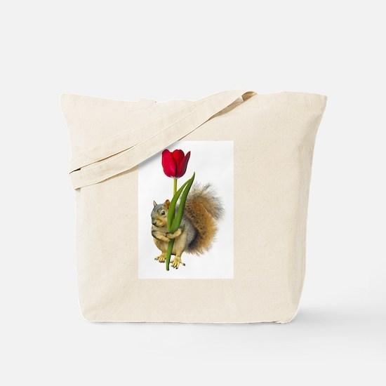 Squirrel Red Tulip Tote Bag